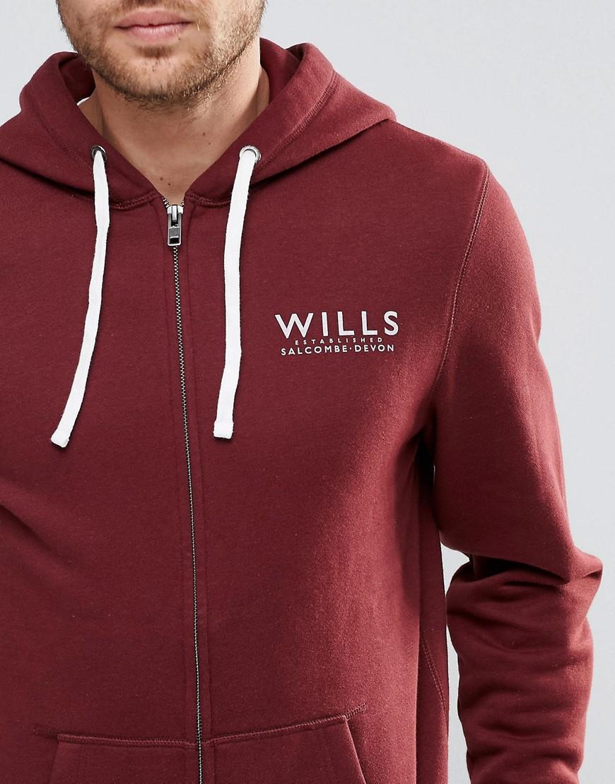 Jack Wills Fleece Hoodie With Wills Print In Burgundy - Damson in Red for Men