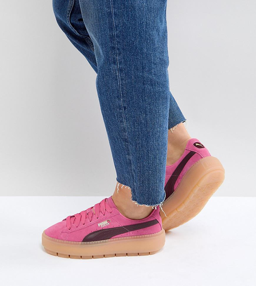 9e7294df2c1bb6 PUMA Trace Platform Sneakers In Pink And Black in Pink - Lyst