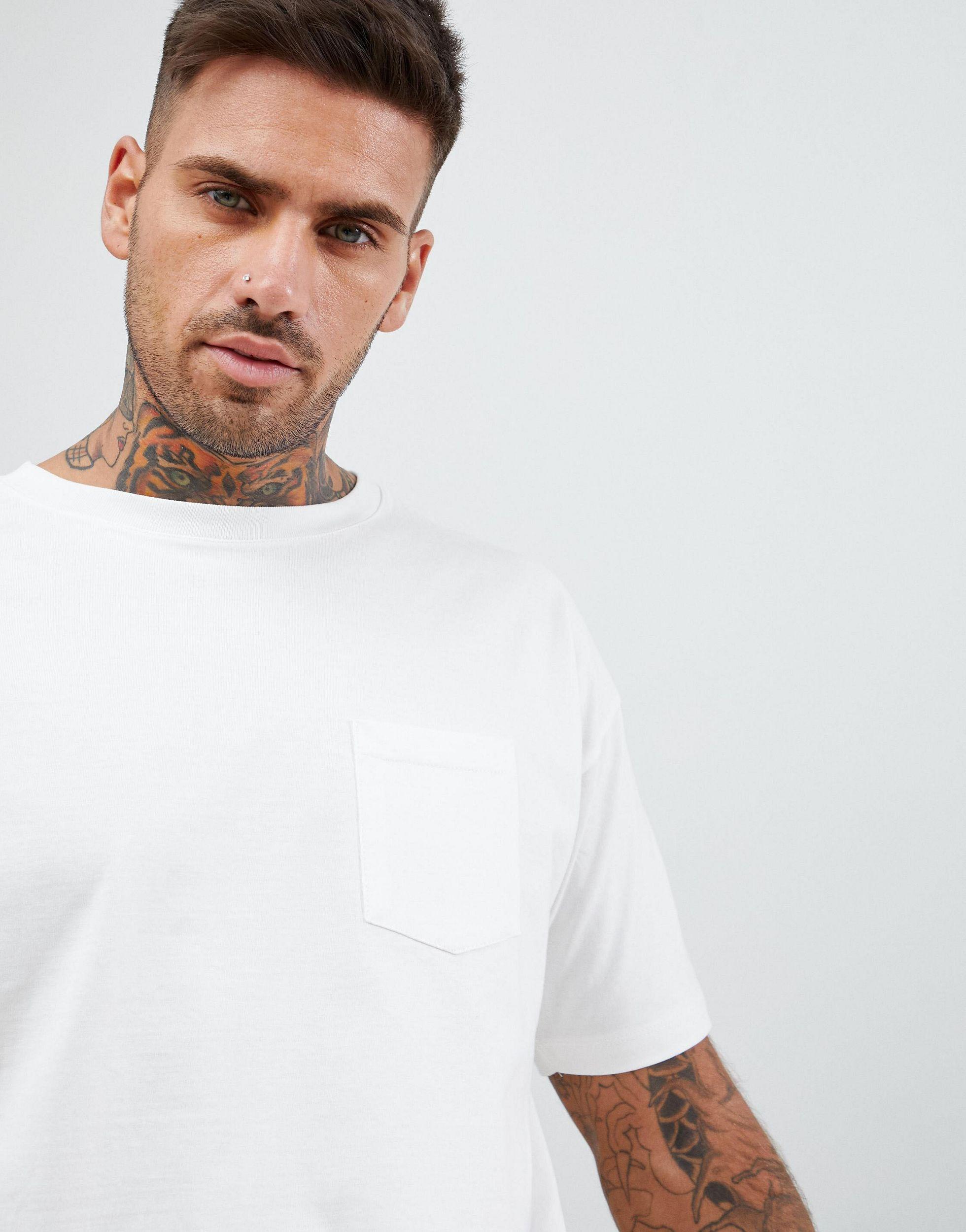 Pull&Bear Denim Join Life - T-shirt Van Biologisch Katoen in het Wit voor heren