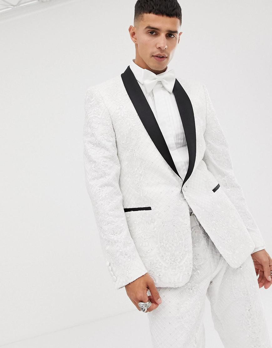 91752a90548 ASOS. Men s Skinny Tuxedo Suit Jacket In Sequin And Lace Embellished White  Sateen