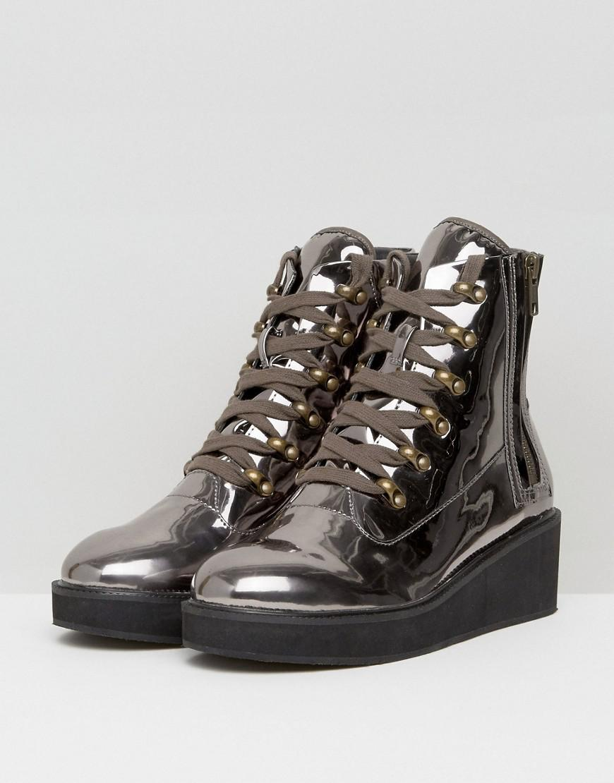 ed069ed981e ASOS Metallic Asos Racer Chunky Hiker Boots