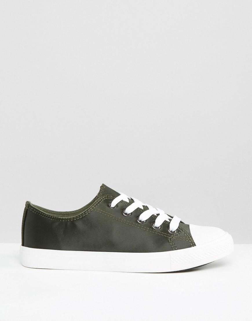 New Look Satin Lace Up Trainer in Green