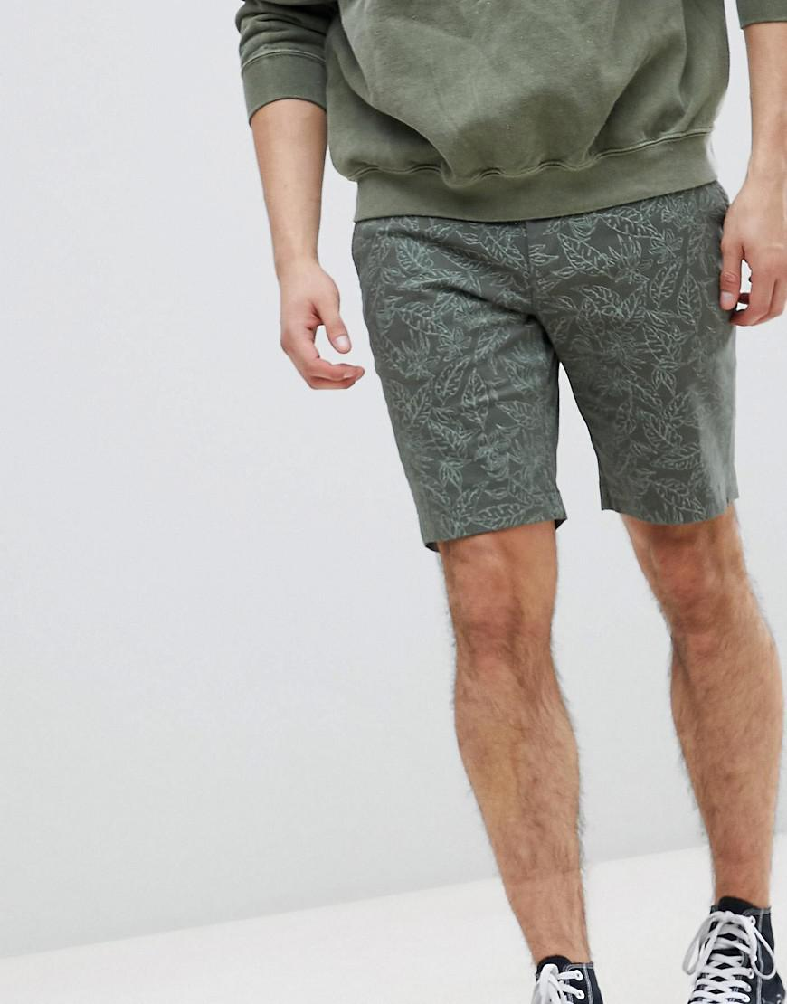 Shorts In Khaki With Leaf Print - Green Ted Baker cJln1