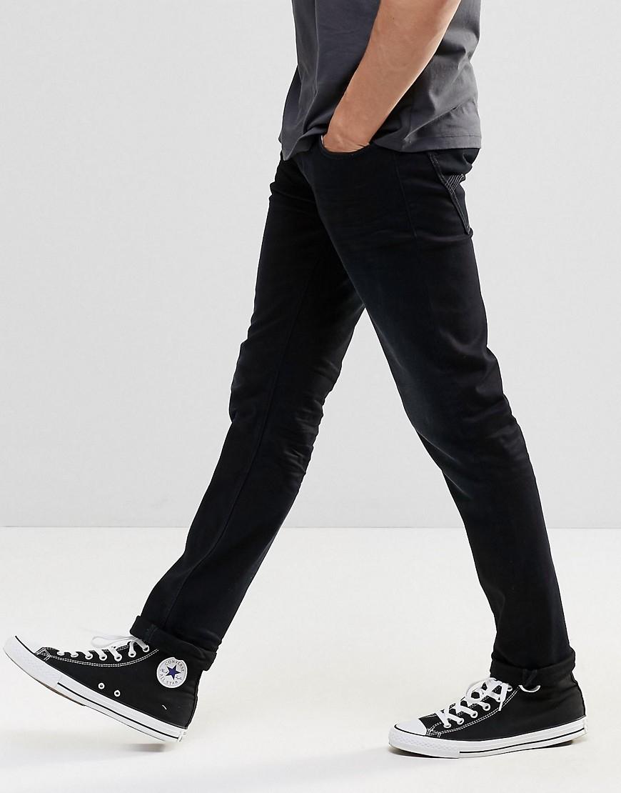 Nudie Jeans Denim Nudie Thin Finn Slim Jeans Black Smoke Blasted for Men
