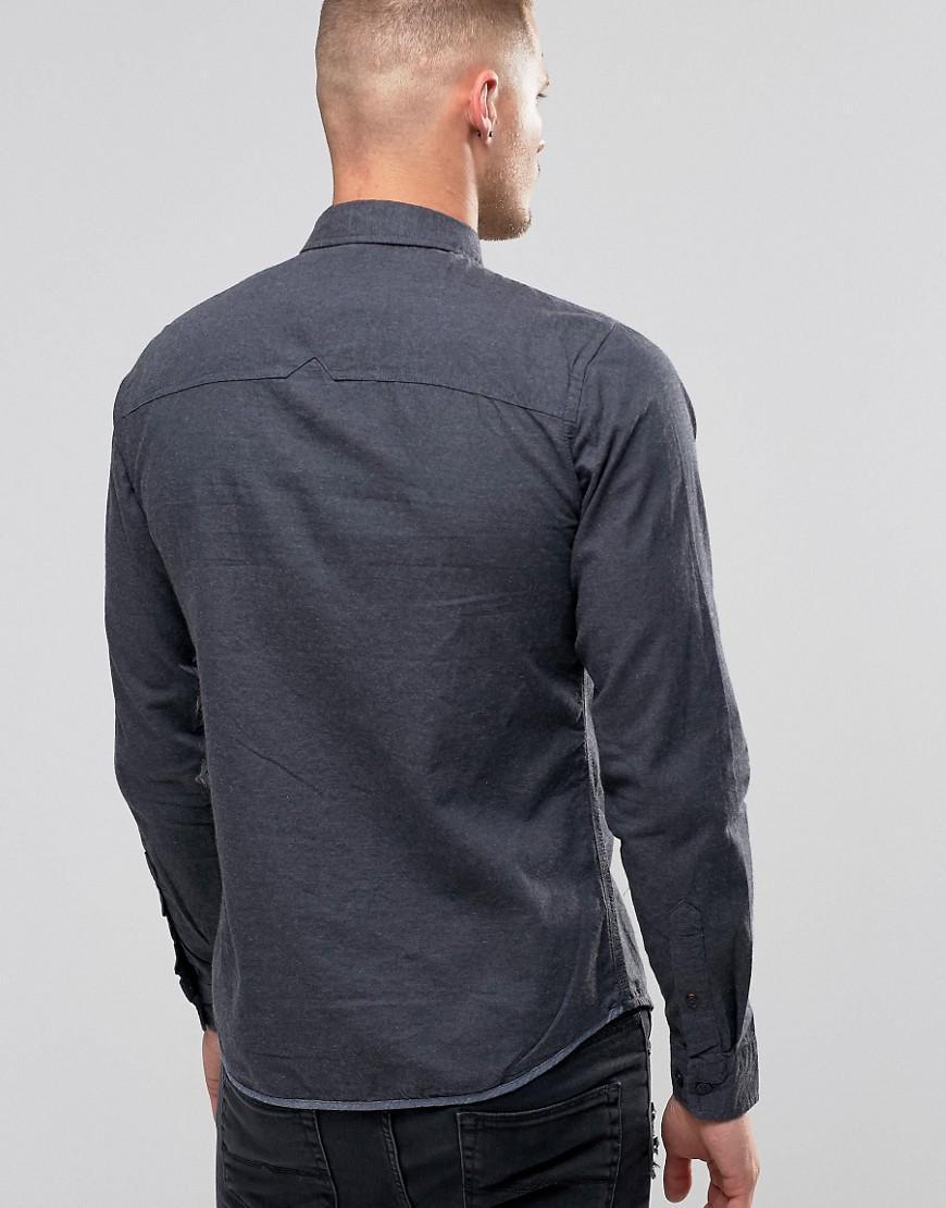 Lyst blend slim butondown shirt flannel blue nights in for Athletic cut flannel shirts