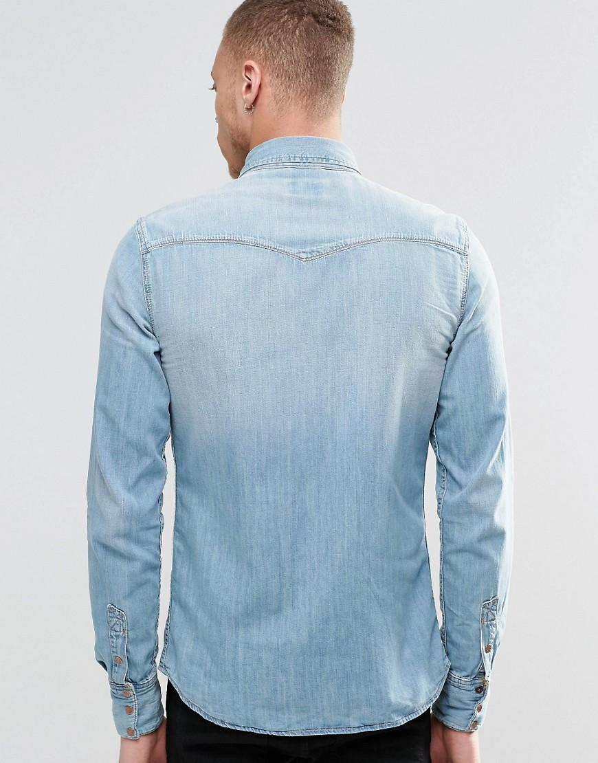 Nudie Jeans Nudie Jonis Bronson Western Denim Shirt In Light Blue Wash for Men
