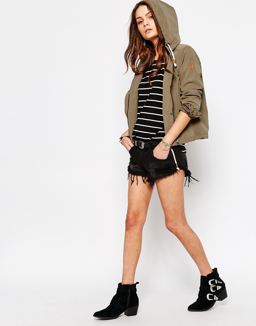 Only Skylar Short Parka Jacket in Brown | Lyst