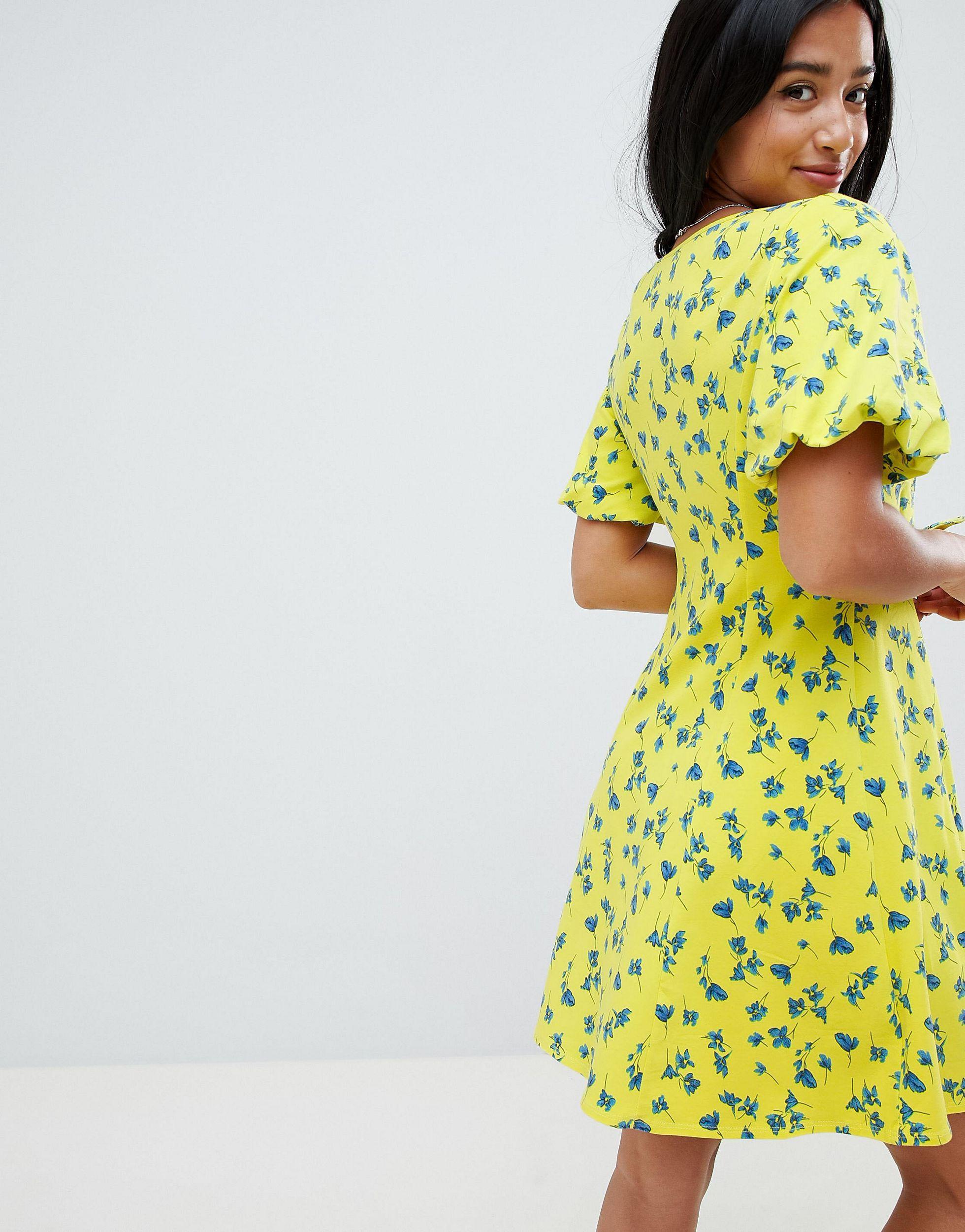 ASOS DESIGN Petite - Robe patineuse d'été nouée sur le devant à manches boule Jean ASOS en coloris Jaune