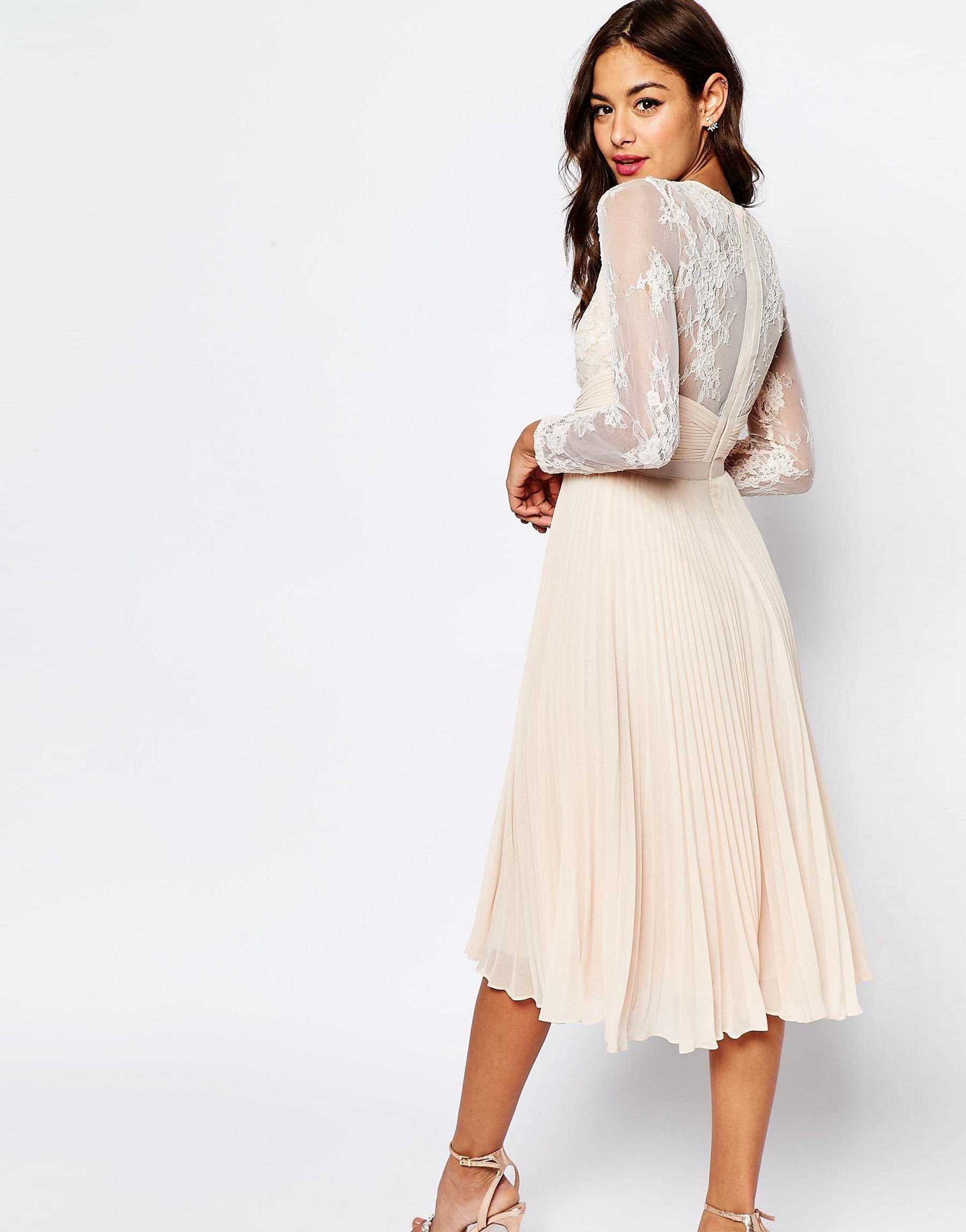 Lyst - Asos Petite Wedding Pretty Eyelash Pleated Skater Dress in White