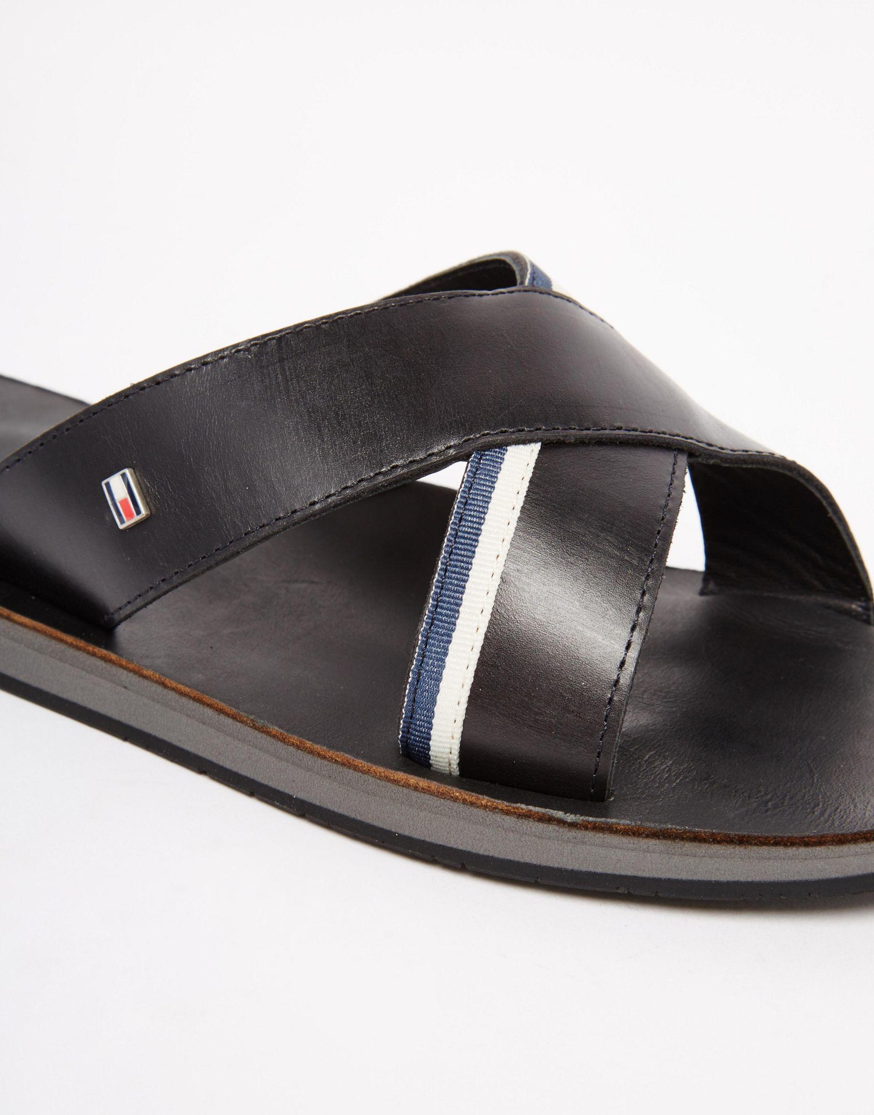 Tommy Hilfiger Leather Flip Flops In Black For Men  Lyst-3178