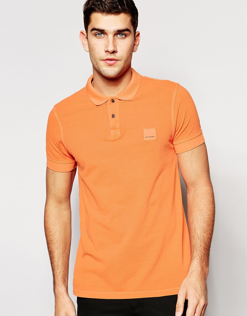 Boss orange polo shirt with logo in slim fit in orange for for Orange polo shirt mens