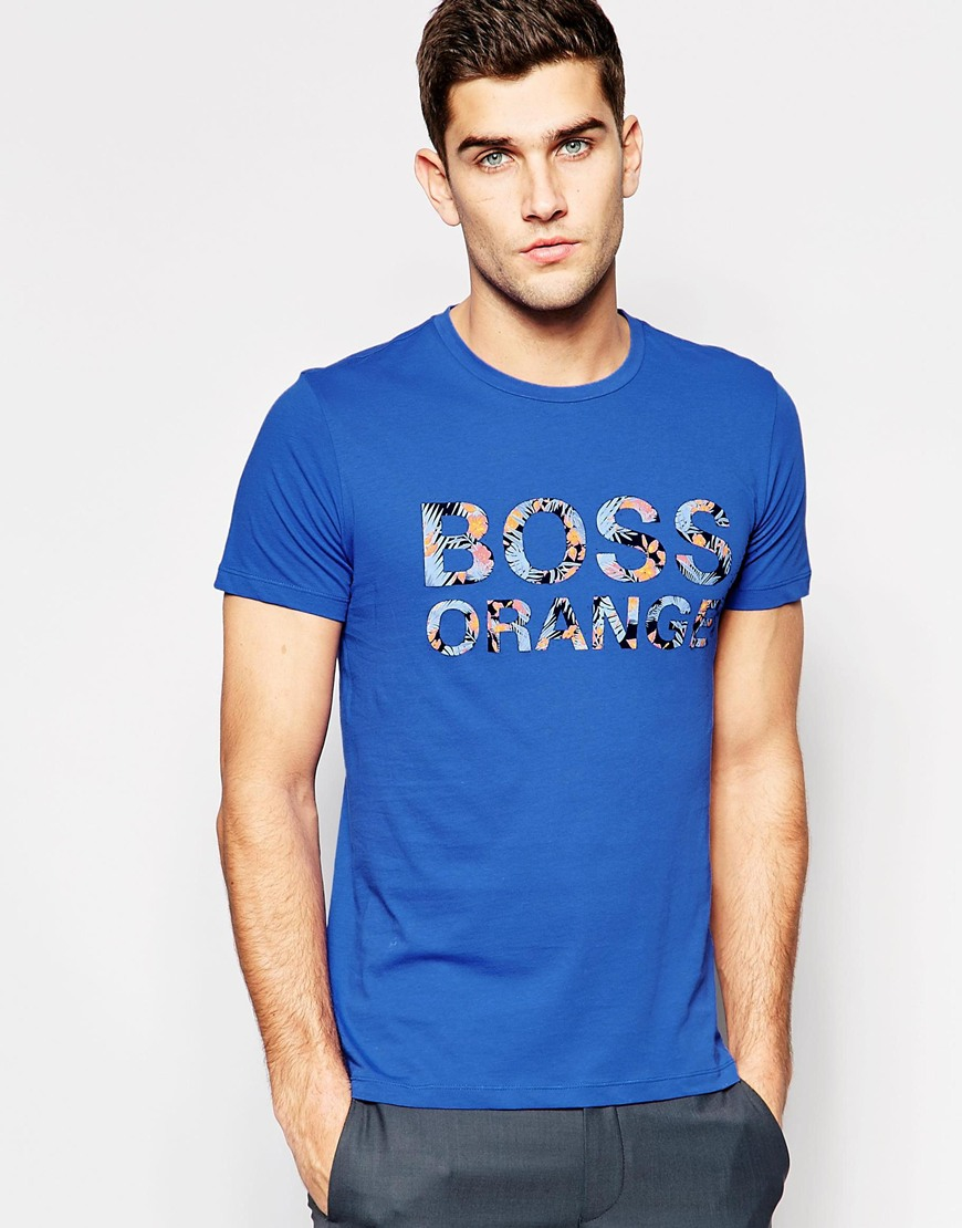 boss orange t shirt with logo print regular fit in blue in. Black Bedroom Furniture Sets. Home Design Ideas