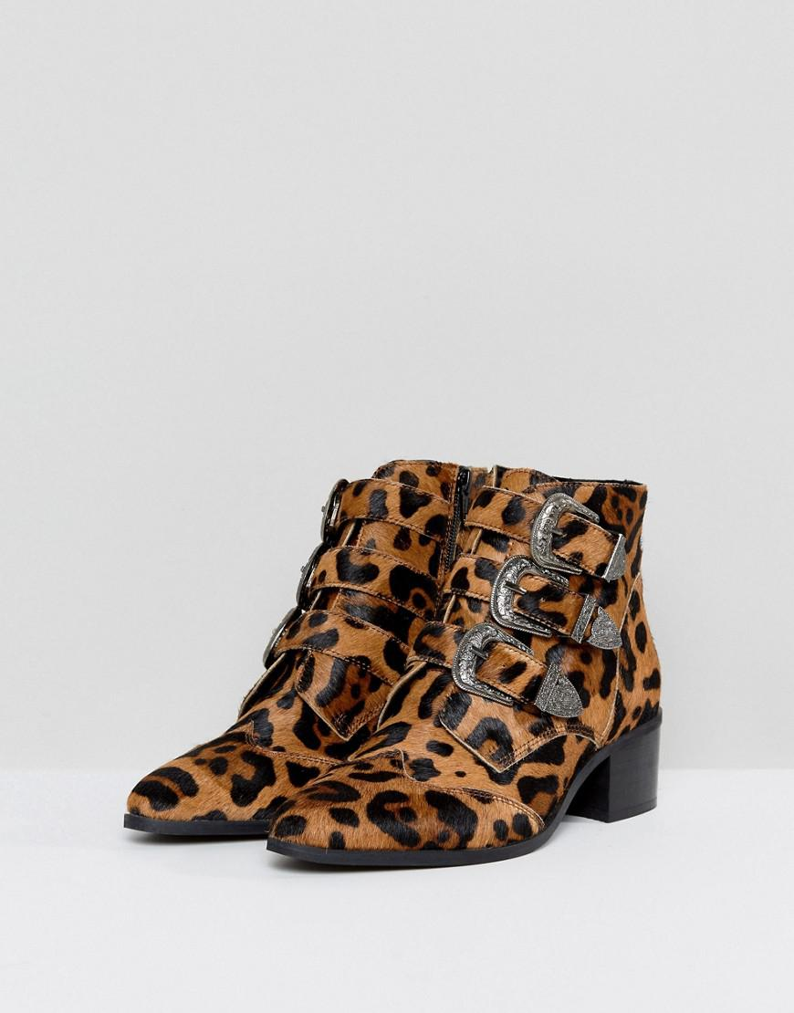 ASOS Relieve Wide Fit Leopard Buckle Leather Ankle Boots in Brown