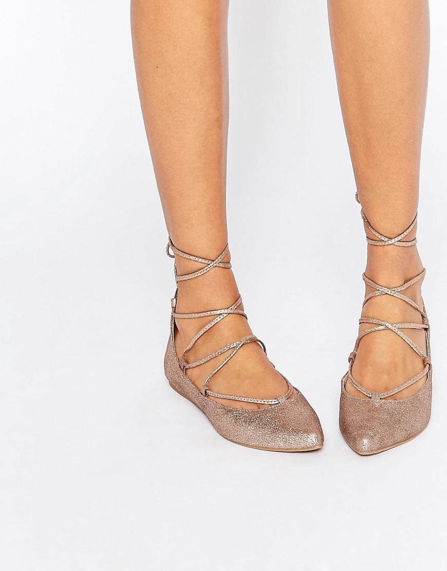 3e5e563e7e7 Lyst - Steve Madden Eleanorr Rose Gold Wrap Ballerina Flat Shoes in ...
