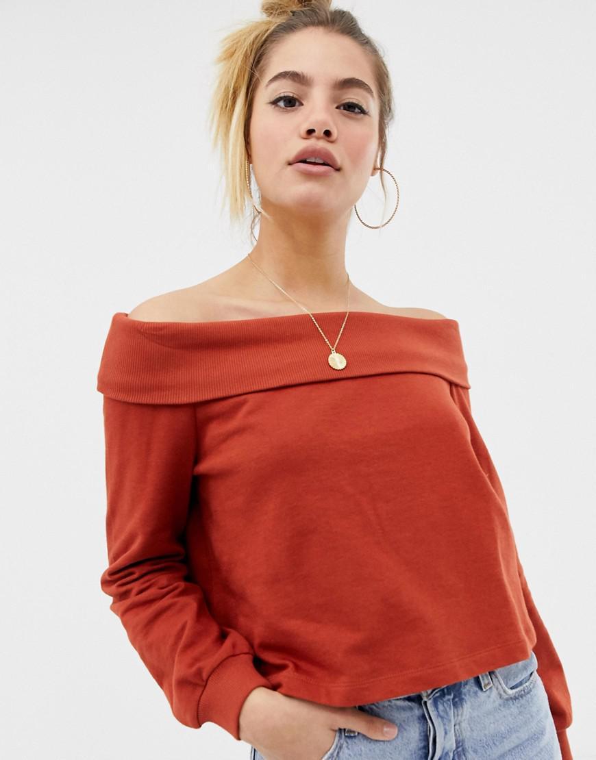 6ff79d0321683d ASOS Off Shoulder Sweatshirt With Foldover In Rust in Orange - Lyst