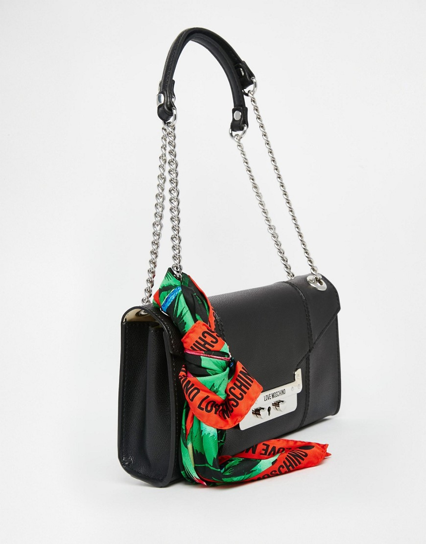 Lyst - Love Moschino Shoulder Bag With Chain Straps And Scarf in Black 8fc5c30f4f