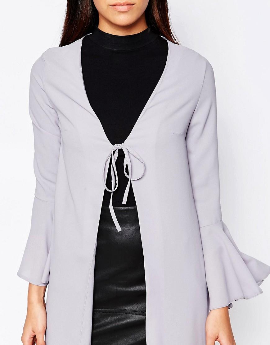 Love Bell Sleeve Tie Jacket Grey In Blue Lyst