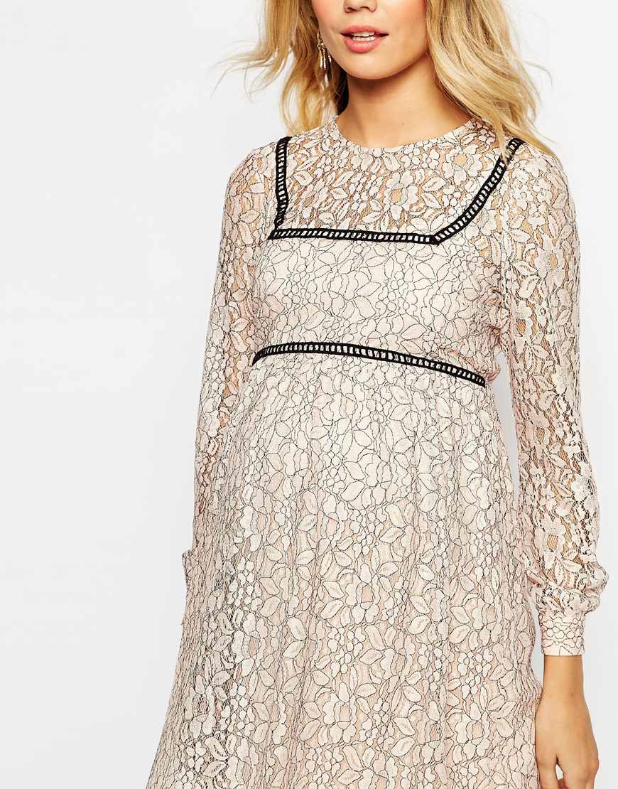 4f3f669d14ed Lyst - ASOS Lace Skater Dress With Ladder Trim in Pink