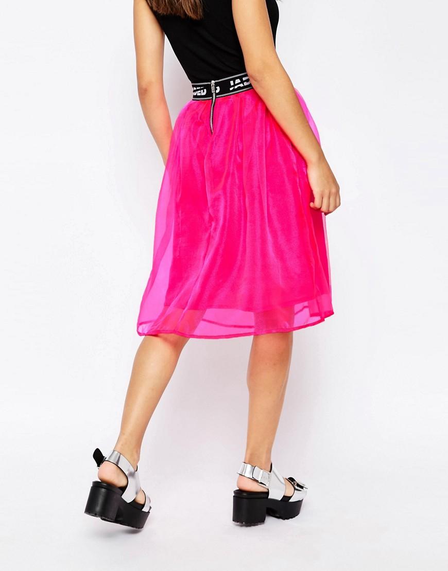 jaded midi skater skirt in pink lyst