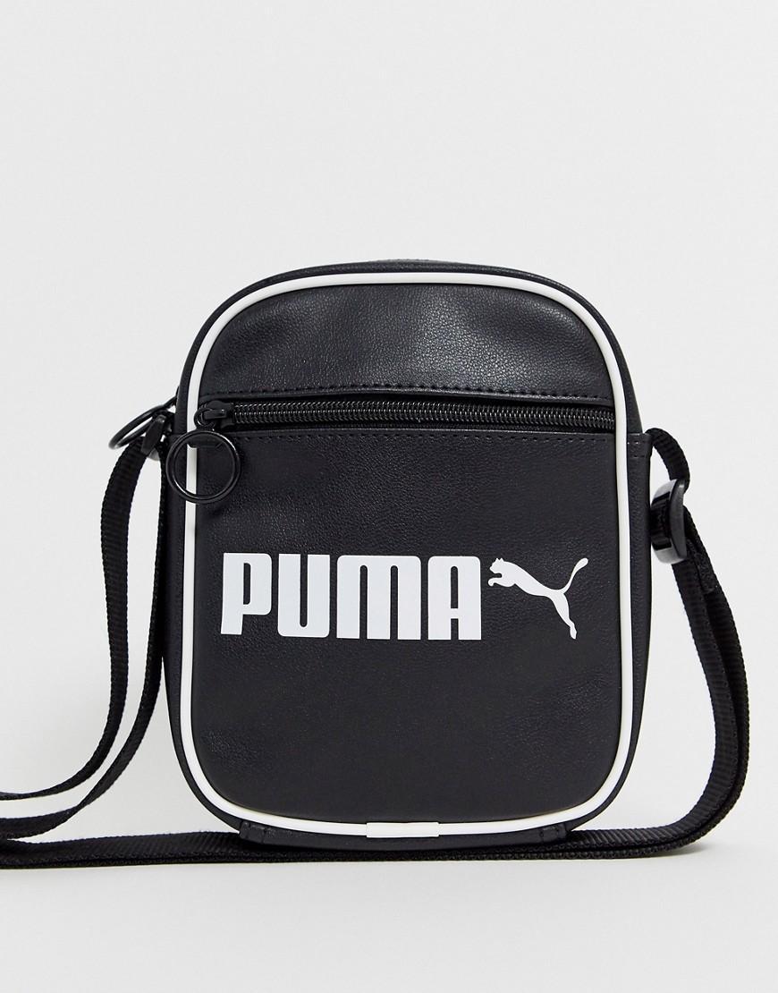 PUMA Leather Campus Portable Retro Black Bag - Lyst