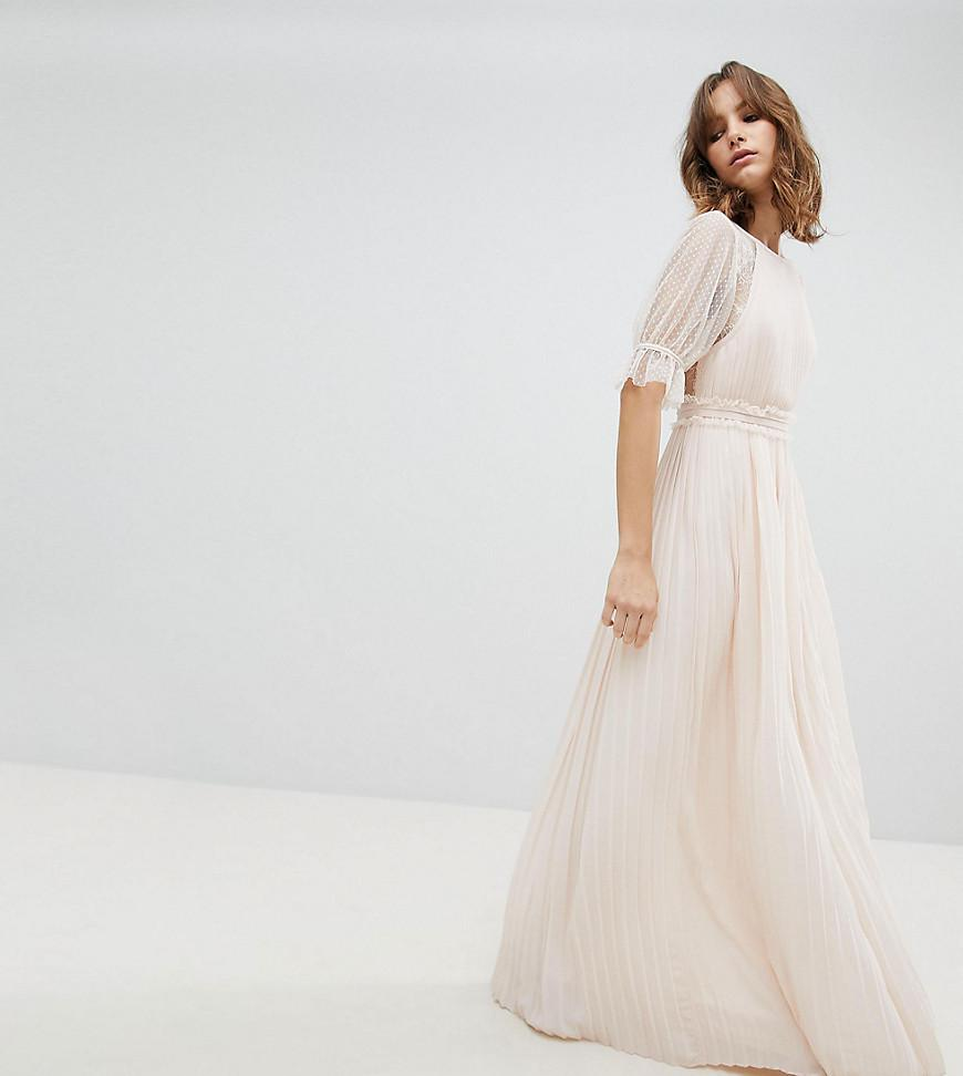 Lyst - Tfnc London Pleated Maxi Bridesmaid Dress With Spot Mesh ...
