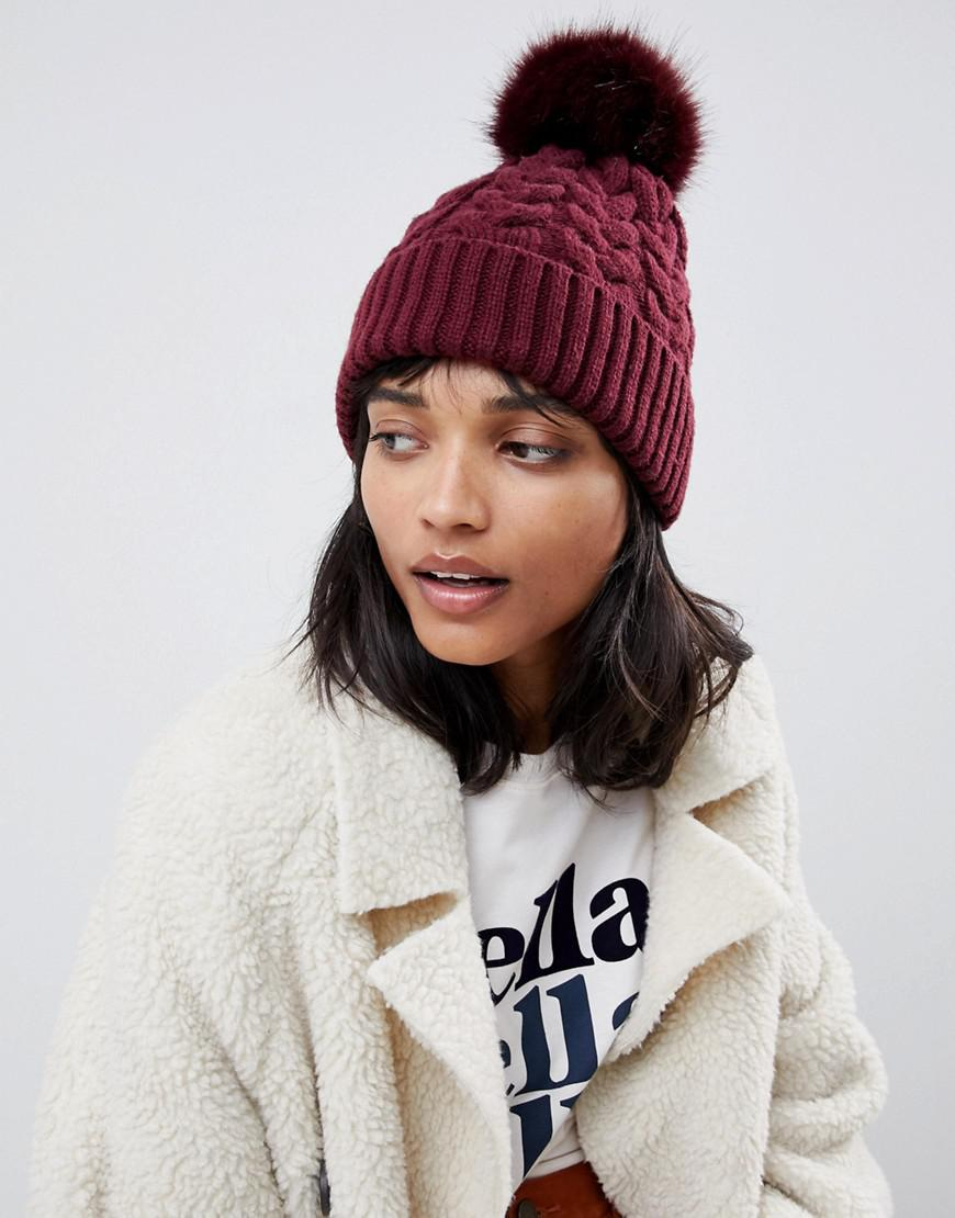 Lyst - ASOS Cable Faux Fur Pom Beanie In Recycled Polyester in Red 7f99ce96db2b