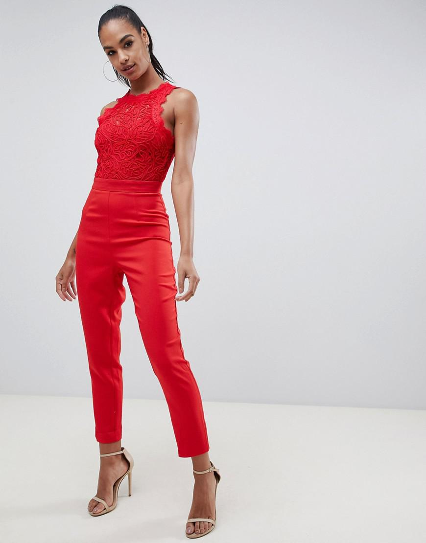 290bdaed07e4 Missguided Cornellie Lace Jumpsuit In Red in Red - Lyst