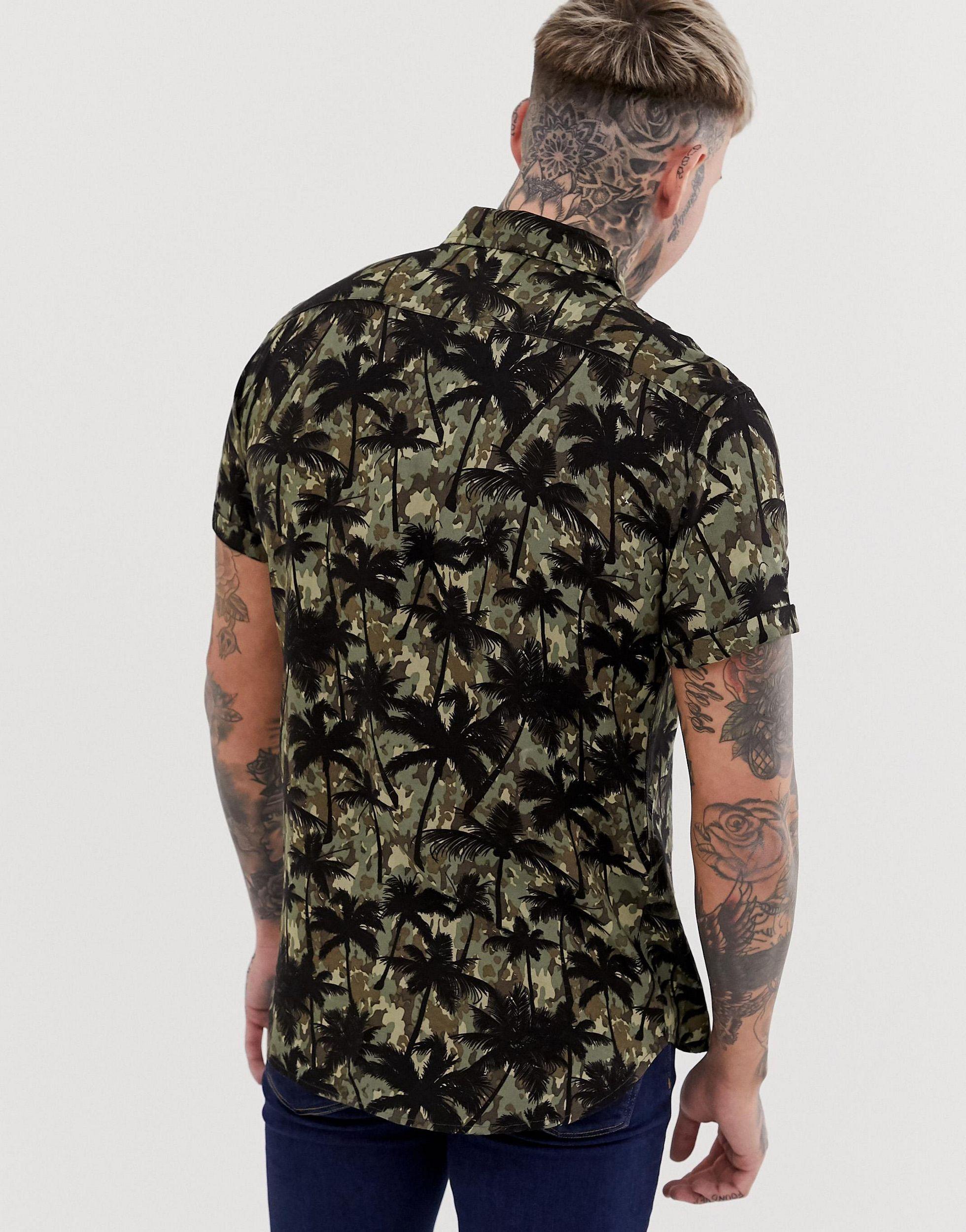 Blend Denim Overhemd Met Korte Mouwen, Camouflage- En Palmbomenprint in het Groen voor heren