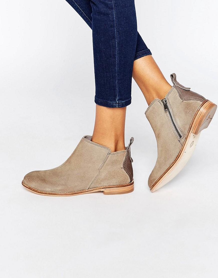 lyst hudson london revelin grey suede ankle boots in brown. Black Bedroom Furniture Sets. Home Design Ideas