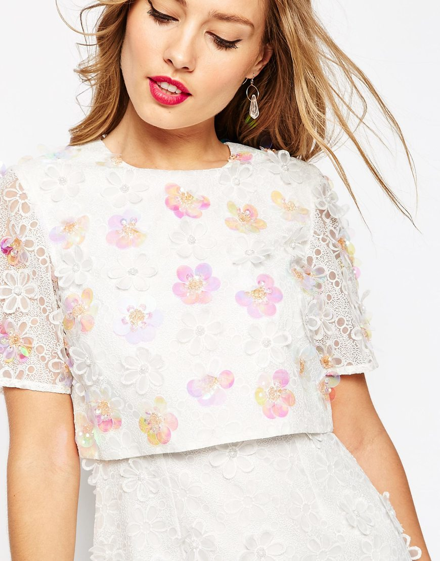 Lyst Asos Salon 3d Floral Lace Embroidered Crop Top Mini Dress In Pink
