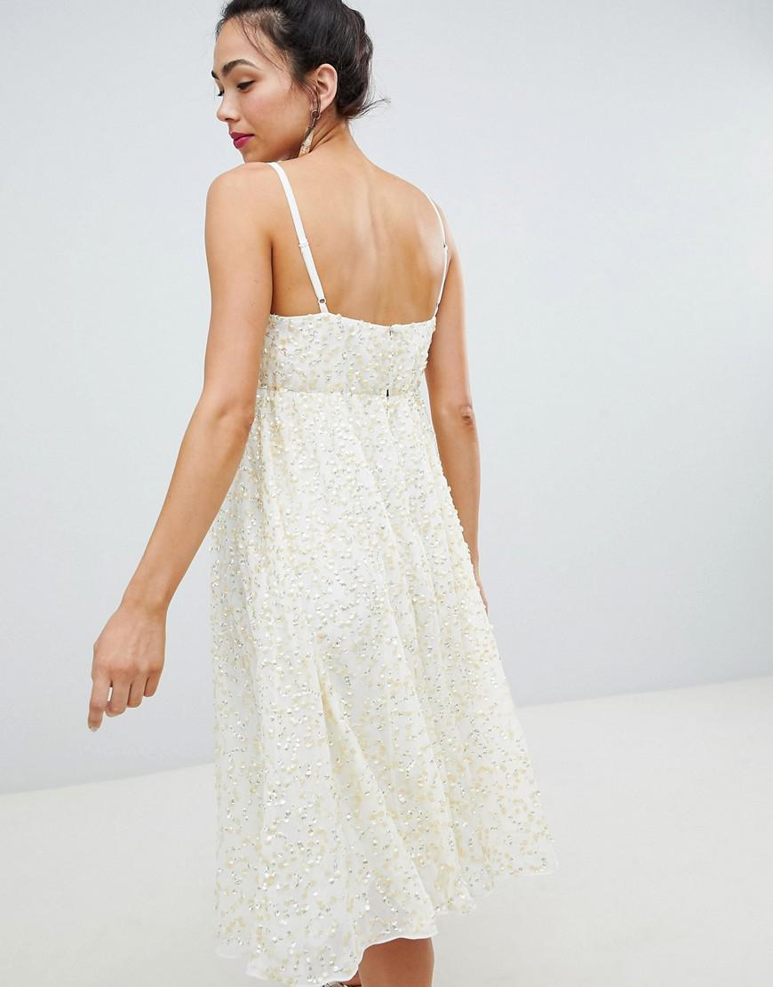 aa8ae00ada Lyst - ASOS Asos Design Maternity Delicate Sequin Midi Plunge Dress With Full  Skirt