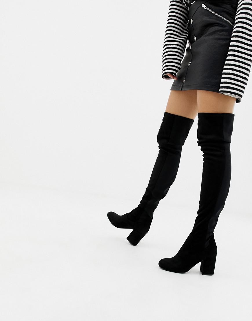 50b007e2821 ASOS Slim Kadi Heeled Thigh High Boots in Black - Lyst