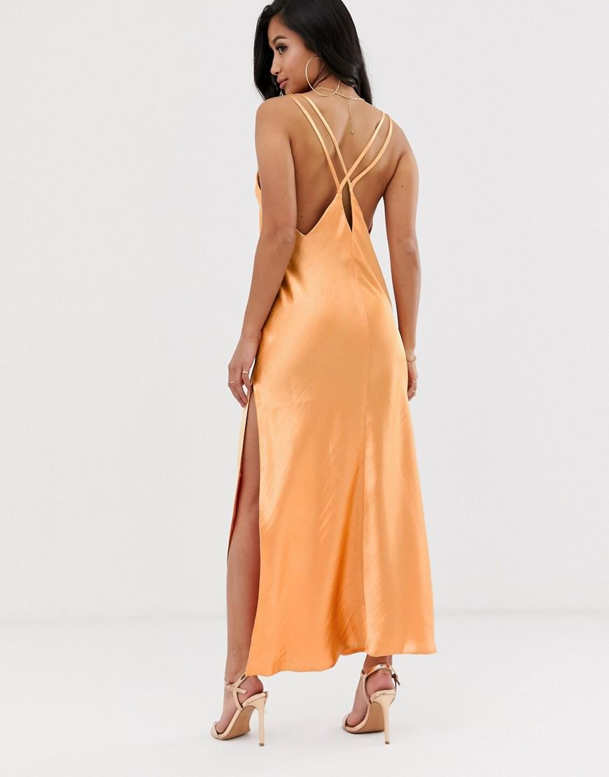 647c8ab275ed3 ASOS Asos Design Petite Cami Maxi Slip Dress In High Shine Satin With  Strappy Back in Green - Lyst