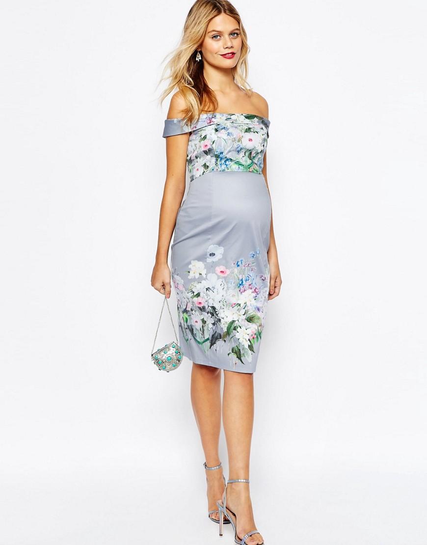 Lyst asos wedding floral bardot pencil dress in blue for Pencil dress for wedding