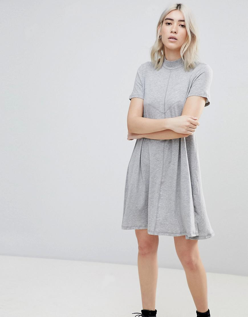 20f8c7212775f Cheap Monday Jagged A Line T-shirt Dress in Gray - Lyst