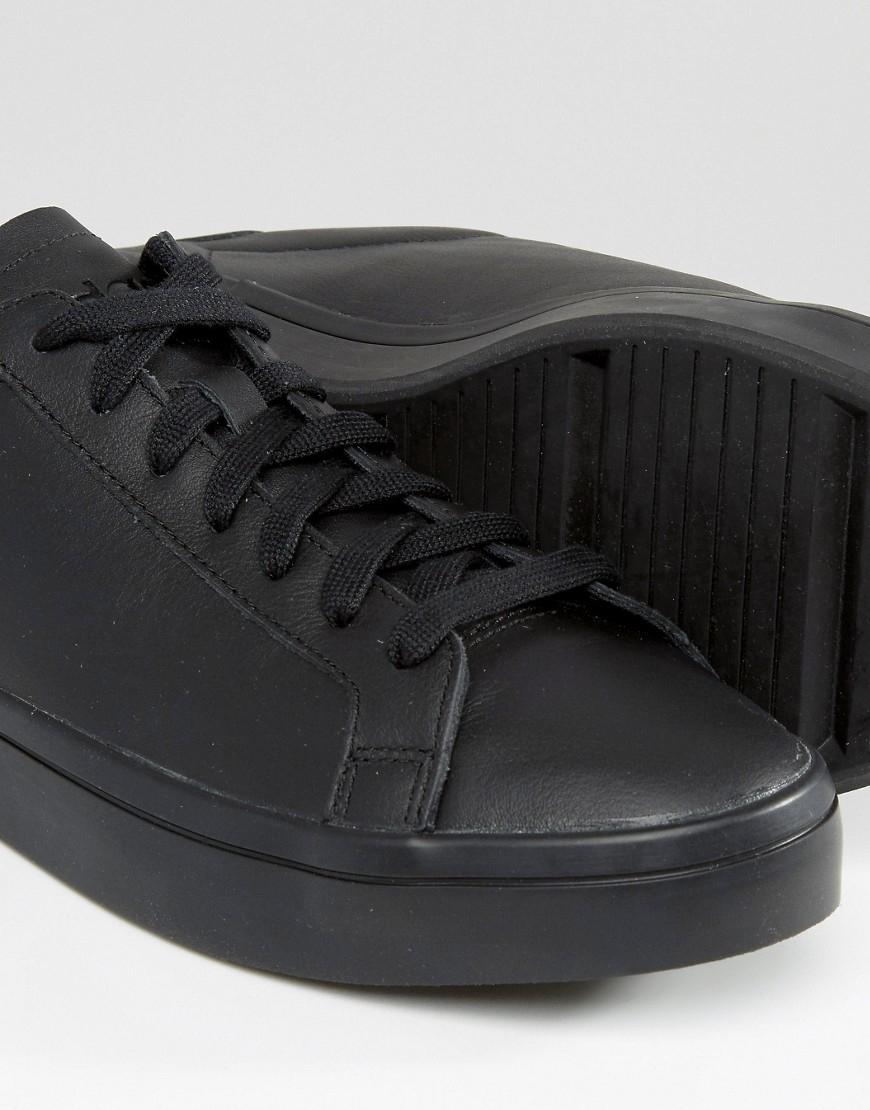 adidas Originals Leather Court Vantage Trainers In Black S76208 for Men