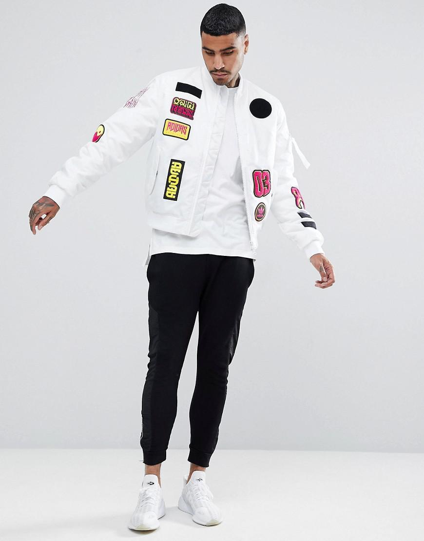638768edd Adidas Originals Logo Padded Patch Bomber Jacket In White Br7149 for men