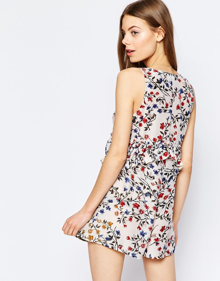 Lyst - ASOS Ditsy Floral Ruffle Romper