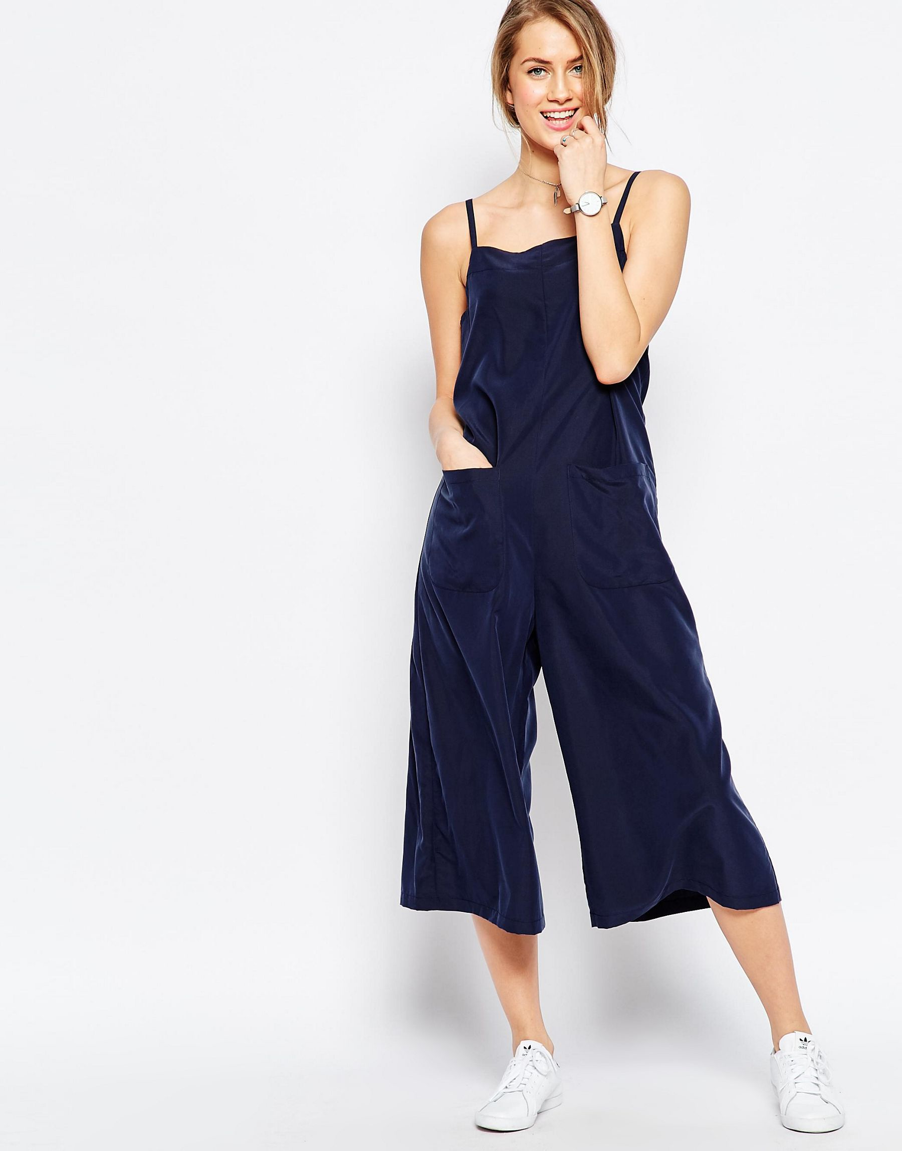 Asos Cami Jumpsuit With Culotte Leg And Pockets In Blue Lyst