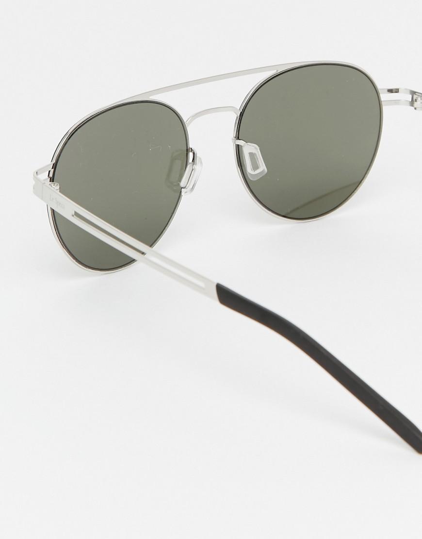 Le Specs Spartan Round Aviator Sunglasses in Silver (Metallic)