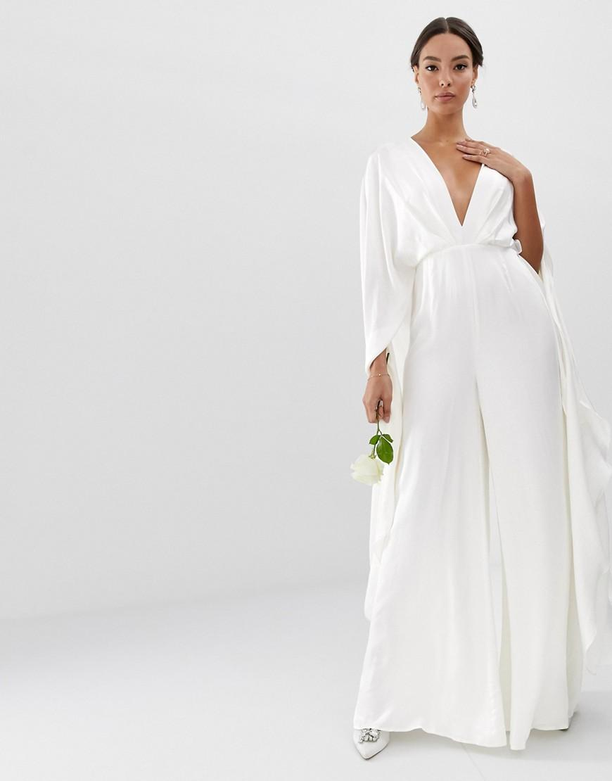 asos cape sleeve wedding jumpsuit in satin in white  lyst