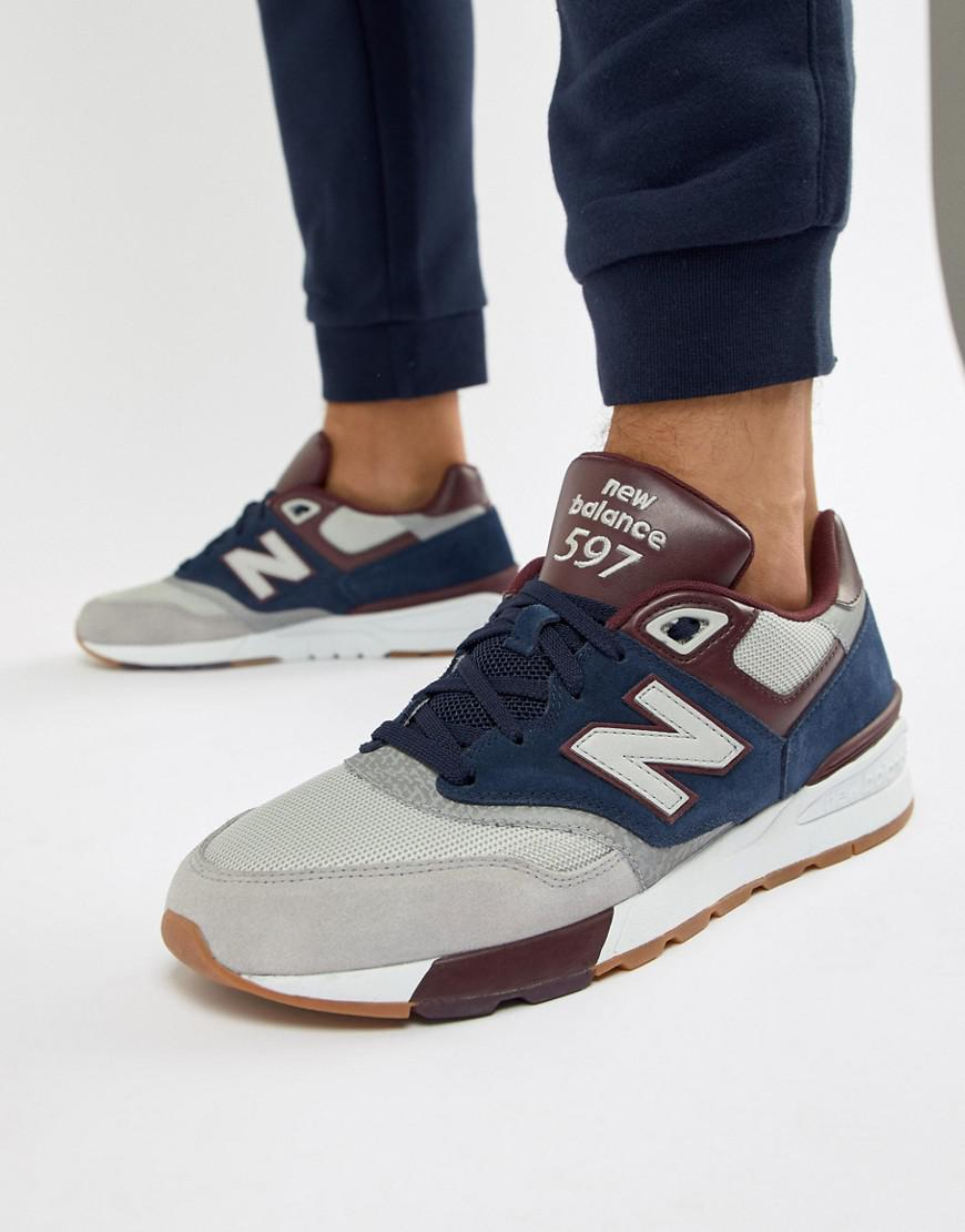 best sneakers 2d866 513ce New Balance 597 Trainers In Navy Ml597gnb in Blue for Men - Lyst
