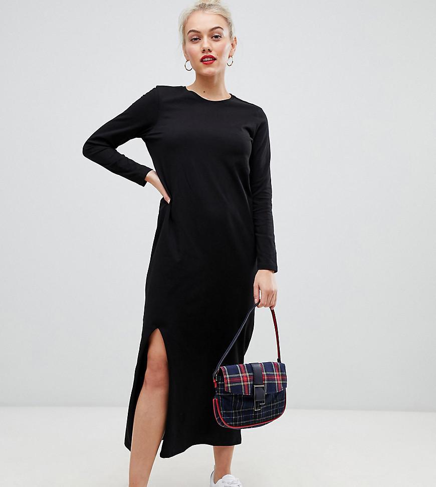 344da07d88a5 ASOS - Black Asos Design Petite Casual Tshirt Maxi Dress With Long Sleeve -  Lyst. View fullscreen