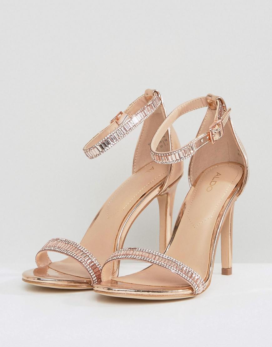 31148c08fef4 Lyst - ALDO Sevoredia Rose Gold Heeled Sandals in Metallic