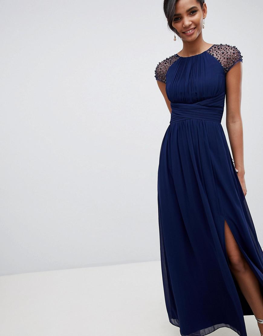 baff6a2353 Lyst - Little Mistress Embellished Sleeve Maxi Dress In Navy in Blue