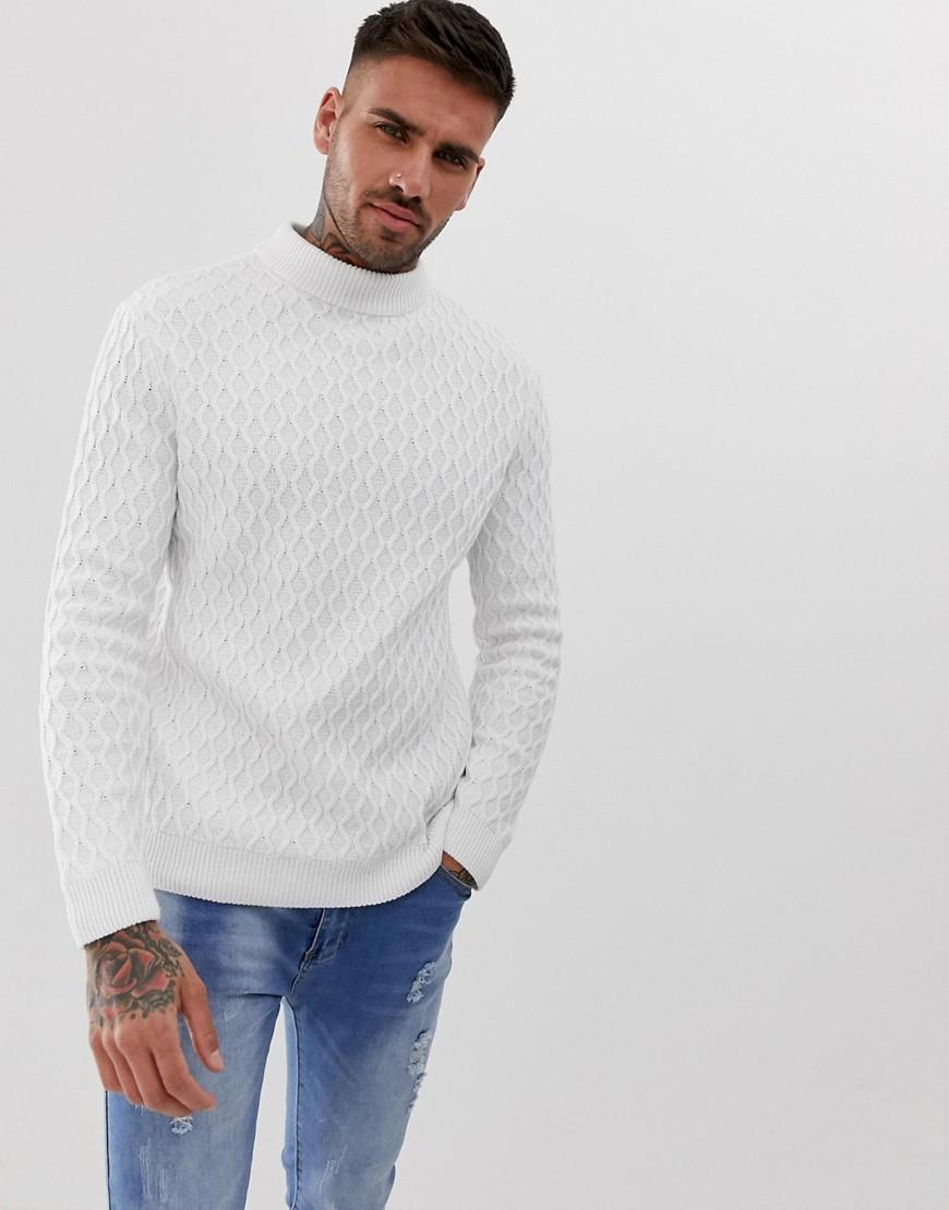 f61673f22cf Lyst - ASOS Textured Cable Knit Jumper In White in White for Men