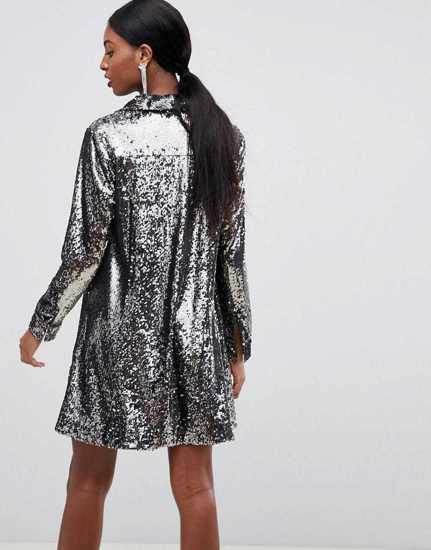 c2f2ce854ee6d ASOS Asos Design Tall Sequin Tux Dress With Pleat Detail in Metallic - Lyst