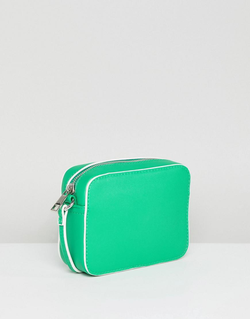 ASOS Denim Cross Body Camera Bag With Piping Detail in Green