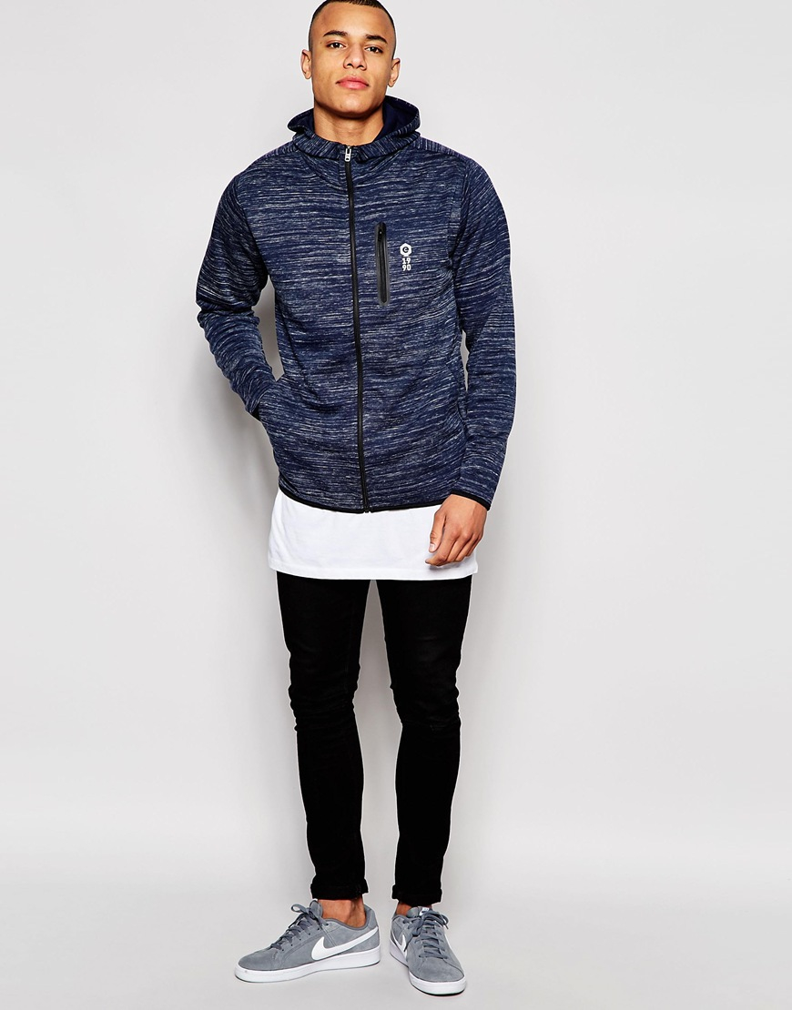 jack jones spacedye zip up hoodie in blue for men lyst. Black Bedroom Furniture Sets. Home Design Ideas