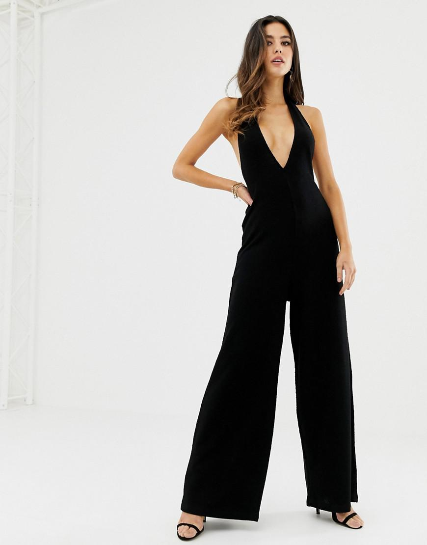 ad7e2618f3 ASOS Halter Neck Jumpsuit With Plunge Front in Black - Lyst